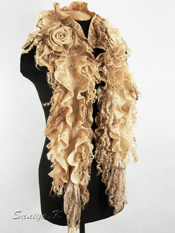 """Scarf-boa """"Golden"""" felted by SaniyaK on Etsy. Scarf-boa felted is made of soft merino wool (18 microns) and British curls Venslideyl and Masham. Wool generously covered gold silk Muga. Charming and warm. Comes with brooch rose..."""