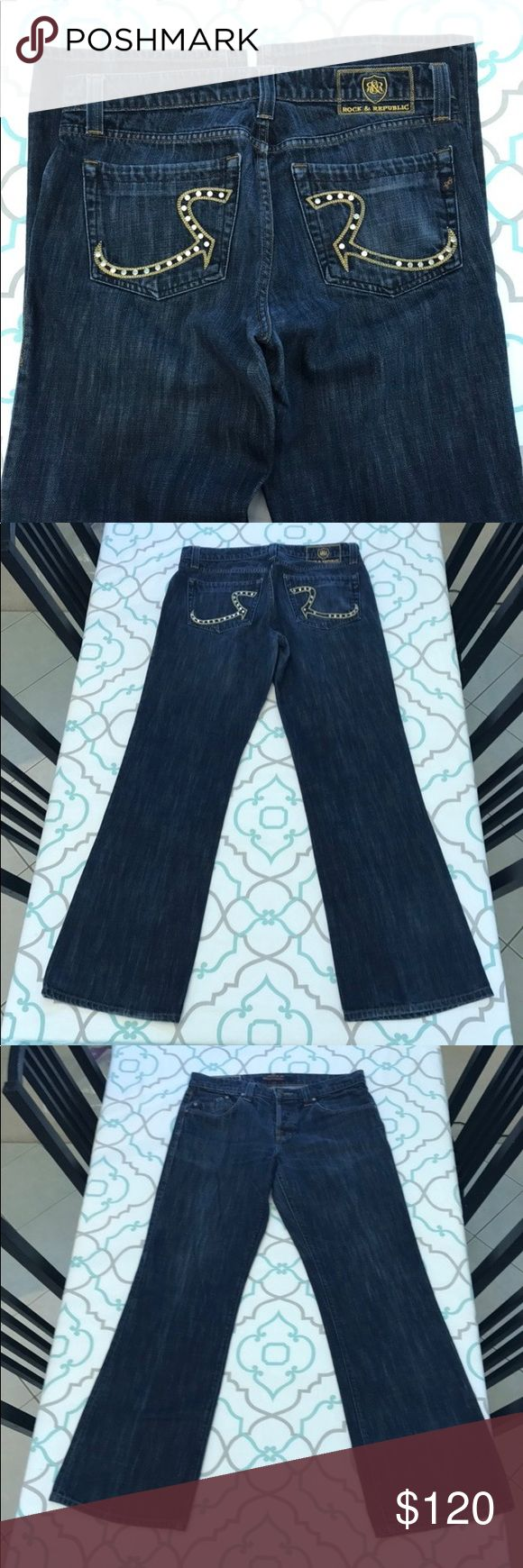 "Rock & Republic Jeans34x32 Gold Studs GUC Rock & Republic Jeans Size 34x32.  32.25"" Inseam. 10.25"" Rise. 17.25"" Across Back. No fabric content. No Stretch. Dark Blue Wash. Slightly Fading. Floyd Fit. Studded R's. 5 missing gold studs. Contrasting Yellow Thread. Some missing stitches on bottom hem. Otherwise- Good Used Condition. R&R! Ask me any questions! : ) Rock & Republic Jeans Bootcut"