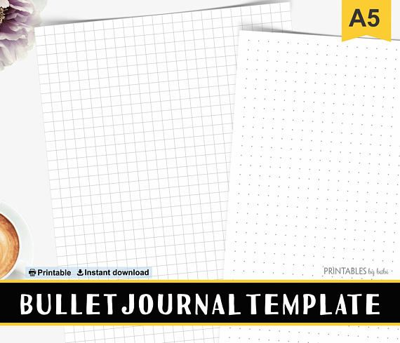 A5 Printable Bullet Journal Template, Dot Grid Paper, A5 Grid Template, A5 Filofax Refills, BUJO Inserts Instant Download  ✻ i n c l u d e s ✻   Pdf with: ∙ 2 A5 PDF Dots & Grid Crop / No Crop  ✻ p r i n t i n g ✻  ∙ Printer ∙ A5 / A4 or 8.5 x 11 - 24lb or 32lb white or color paper ∙ Make