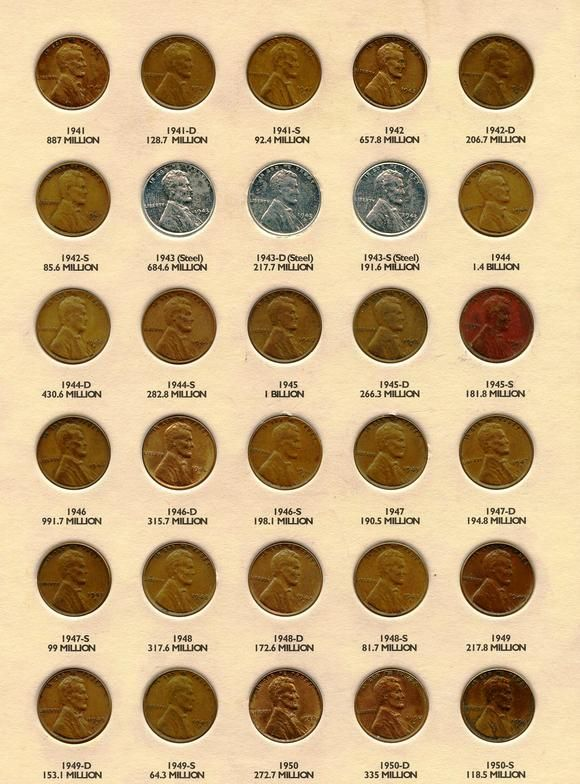 Wheat pennies from 1941 to 1950.