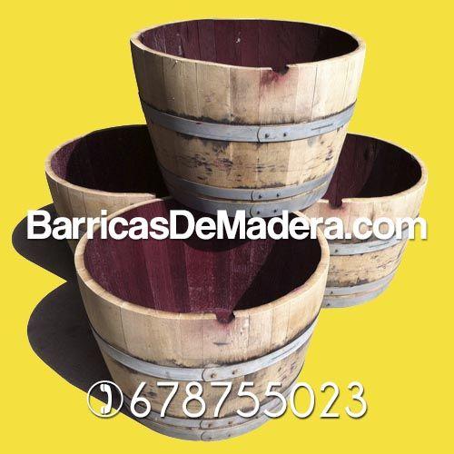 Maceteros jardineras hechas con barricas usadas de - Maceteros de madera ...
