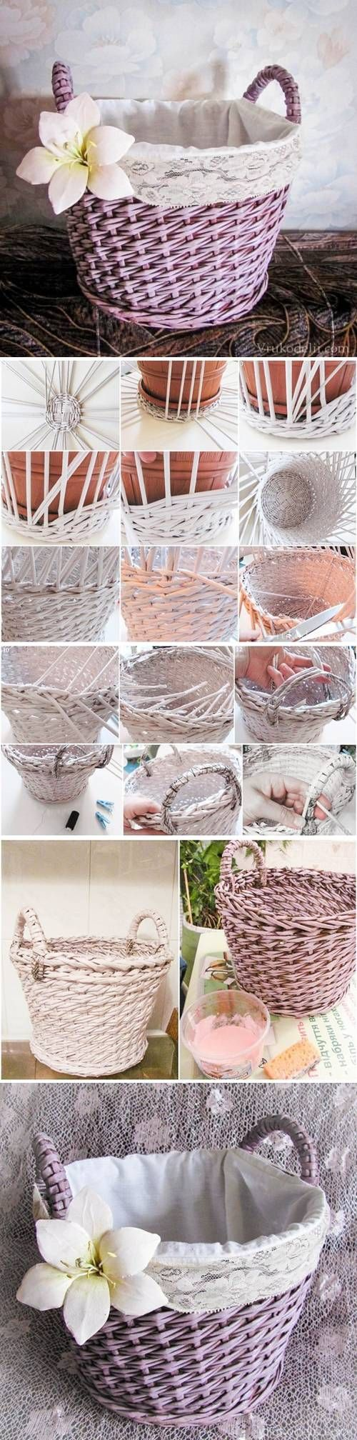 DIY Newspaper Basket Layer Weave DIY Projects | UsefulDIY.com Follow Us on Facebook ==> http://www.facebook.com/UsefulDiy