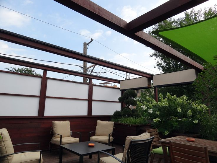 Roof Deck Pergola Retractable Shade Urban Landscape Garden