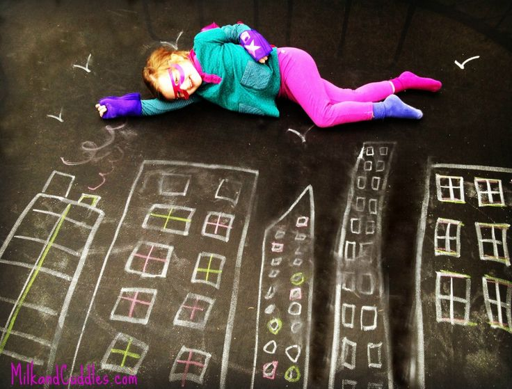 "Clever chalk drawing photos! Hint she used her trampoline as the ""canvas"". idea from @Shannon Bellanca ."