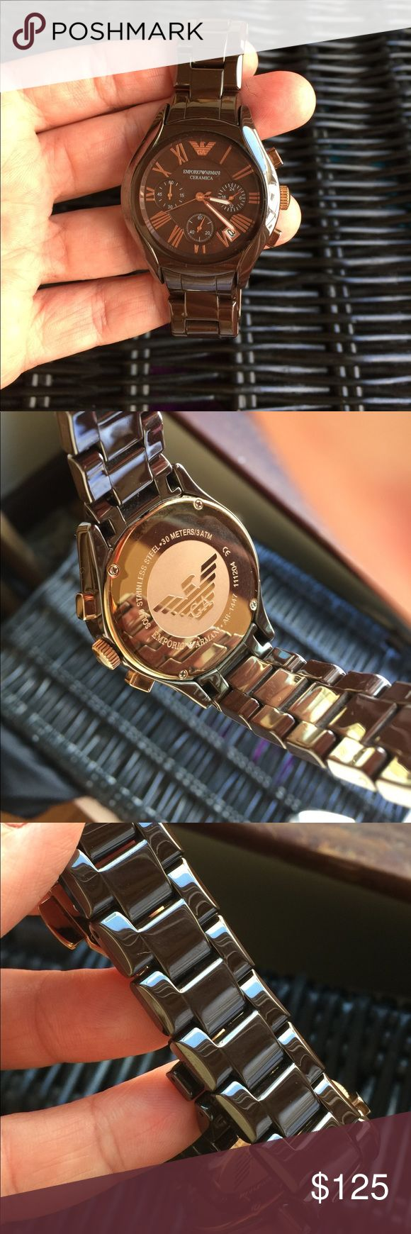 Emotions Armani ceramic watch Gorgeous rich brown color ceramic band, rose gold colored accents. Great condition with no visible scratching. Ships in box with 2 additional links (band can be sized to fit). Needs new battery. Emporio Armani Accessories Watches