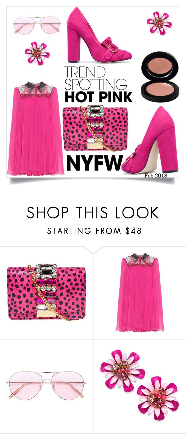 """Hot pink mini dress"" by shiroh ❤ liked on Polyvore featuring GEDEBE, Philosophy di Lorenzo Serafini, Oliver Peoples, Kate Spade, Pink and PinkDress"