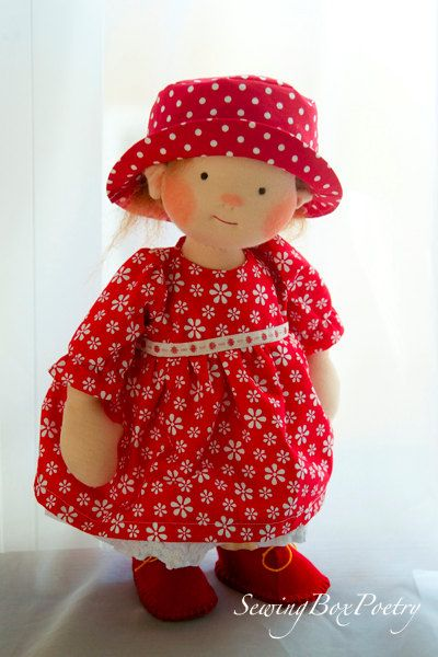 Waldorf inspired doll POETRY GIRL 14'' doll by mARTicreates