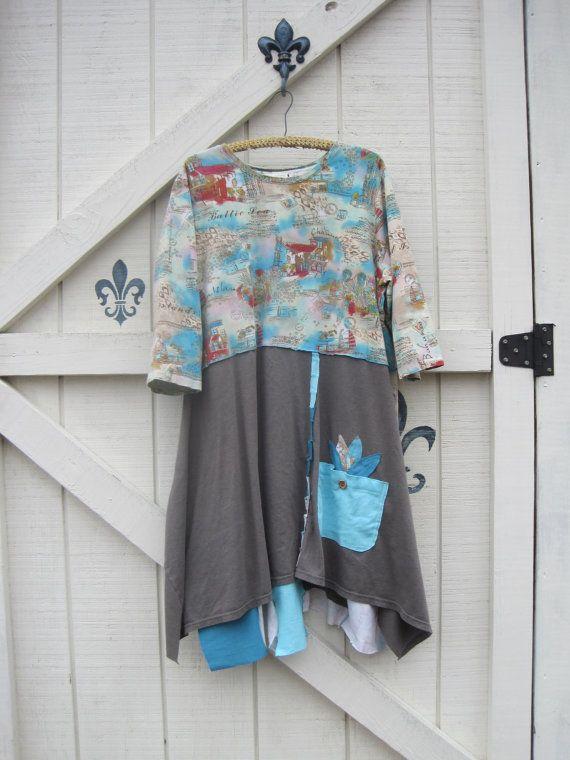 Boho dress long tunic dress Patchwork by ShabyVintage on Etsy
