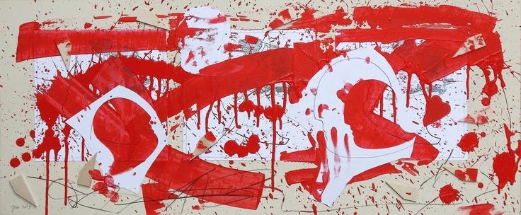 """andrea mattiello """"corsa interrotta dall'esplosione di un cuore volante""""  acrilico, collage e grafite su cartone vegetale cm 83x35; 2013 #arte #art #artecontemporanea #artista #artistaemergente #creatoredimmagini #tecnicamista #carta #paper #collage"""