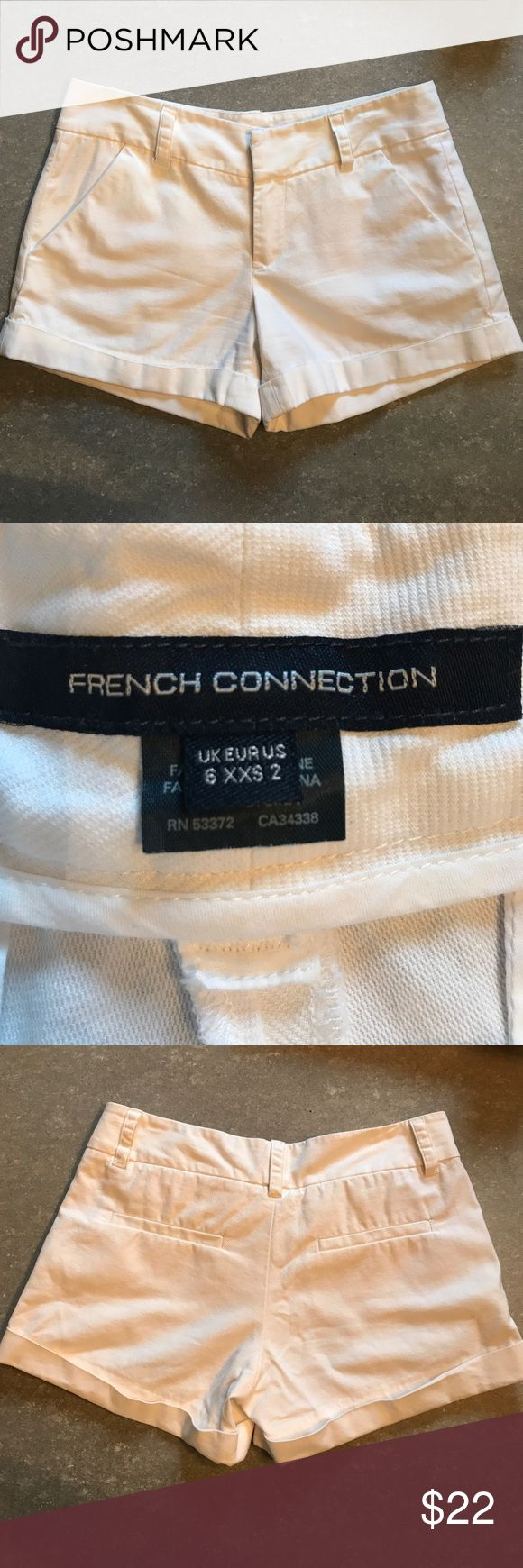 White French Connection Shorts Get ready for summer in these perfect white cotton shorts. US Size 2. French Connection runs small, These fit closer to a size 0. French Connection Shorts