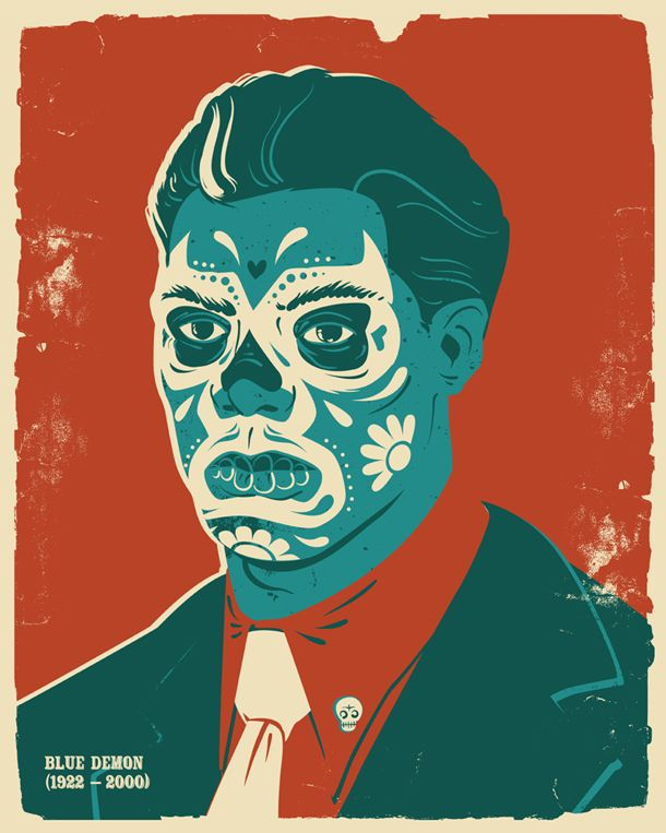 "Blue Demon design from ""The Dead Wrestlers Society"" posters by British design boutique I Love Dust."