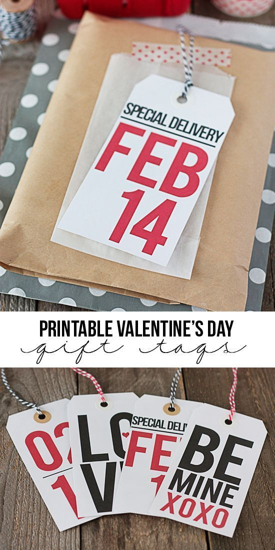 Th perfect way to add a little fun to your Valentine's Day gift giving with four printable Valentine gift tags you can download for free and print at home at http://TidyMom.net