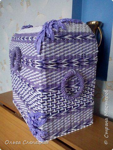 Поделка изделие Плетение СУНДУК для сокровищ    Трубочки бумажные фото 2