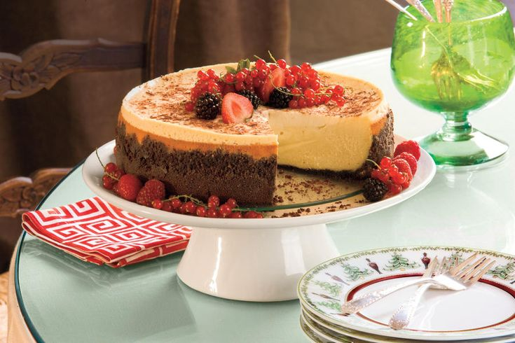 Garnish this rich cheesecake with berries and currants for a party-perfect presentation. The cake can be baked and frozen up to a month ahead.  Recipe:Brandy Alexander Cheesecake