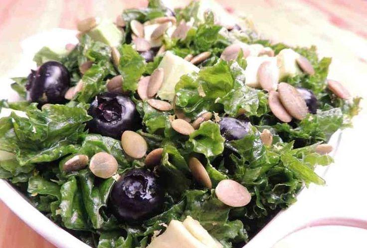 Citrus Kale Salad With Blueberries & Pumpkin Seeds