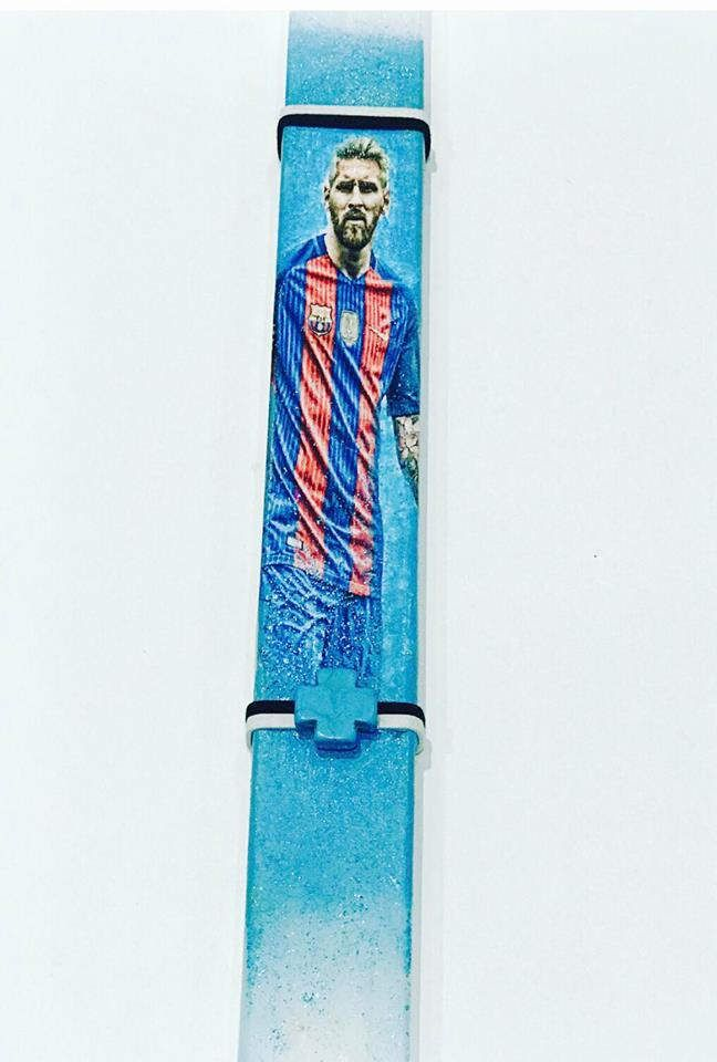 Soccer,messi,greek easter candle,Anastasi, greek easter lambada by ThreelittlebearShop on Etsy
