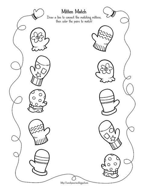 Preschool Mitten Match activity page