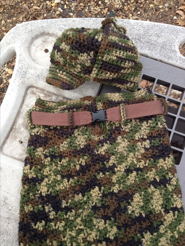 Camoflage cocoon and Elmer Fudd hunting hat