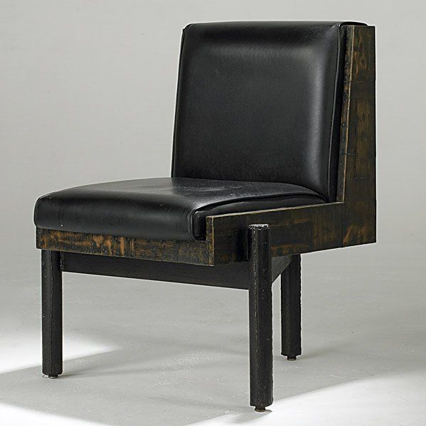 Elegant 502: PAUL EVANS Black Leather Lounge Chair On