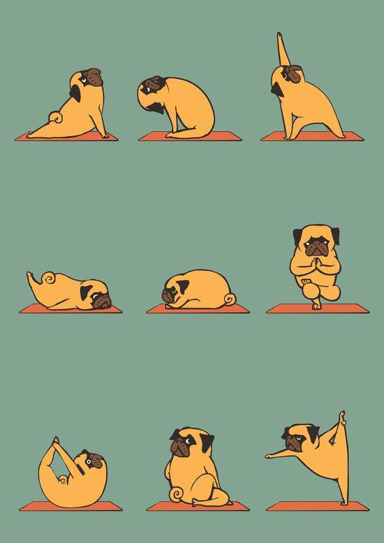 Pug Yoga Art Print #dog #funny #cute