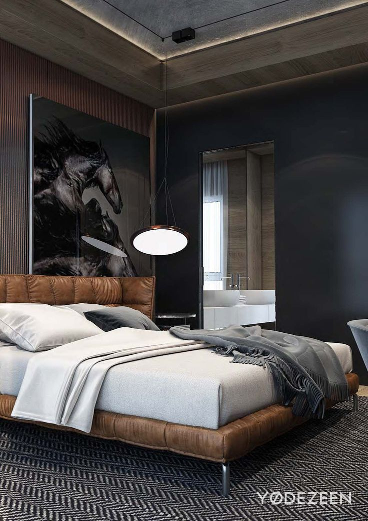 masculine bedroom tbilisi is a residential project designed by yodezeen it is located in tbilisi georgia renderings courtesy of yodezeen - Bedroom Designed