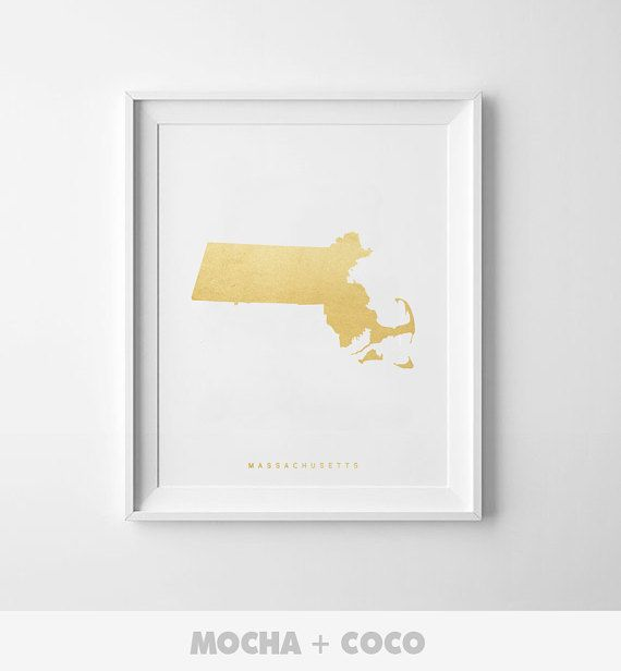 Massachusetts Gold Map Print US State PosterState by MochaAndCoco