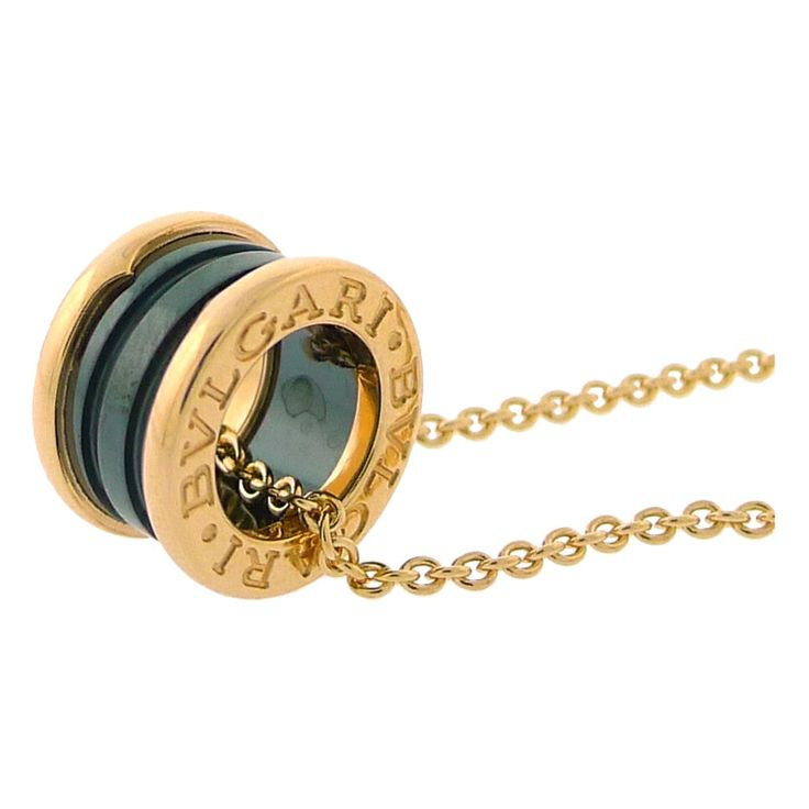BULGARI  B.Zero1 Pink Gold Black Ceramic Pendent w/ Chain | From a unique collection of vintage chain necklaces at http://www.1stdibs.com/jewelry/necklaces/chain-necklaces/
