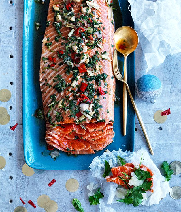 This cured ocean trout is cured in a soy souce, kaffir lime, chilli and lemongrass sauce for light Asian notes. Seafood might be a Christmas classic, but we're making this one all summer long.