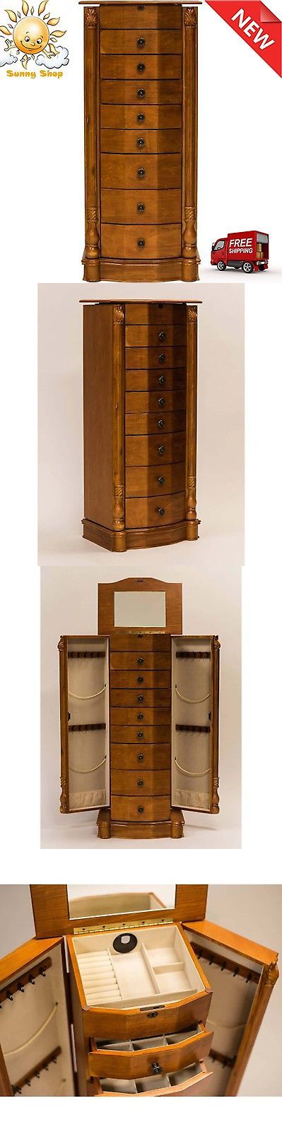 Multi-Purpose 168165: Honey Oak Armoire Louis Cabinet Jewelry Stand Necklace Hooks Jewelry Mirror 40 BUY IT NOW ONLY: $321.8