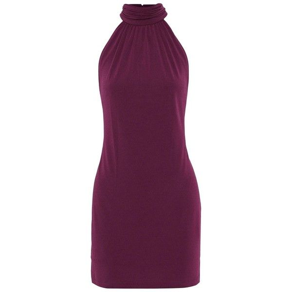 Shiley Sleeveless High-Neck Crepe-Jersey Mini Dress ($118) ❤ liked on Polyvore featuring dresses, short mini dress, sleeveless jersey dress, purple dresses, crepe dress and sleeveless jersey