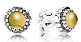 Pandora Silver November Birth Stone Citrine Stud Earrings 290543CIG