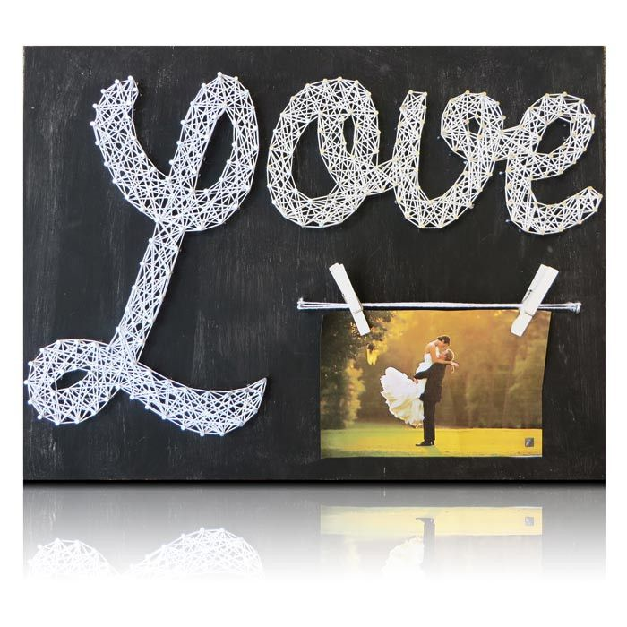 This beautiful Love String Art Picture Frame Kit can be used for any occasion. Wedding decor, family pictures, best friend pictures, anything you can think of. String it together for someone as a gift