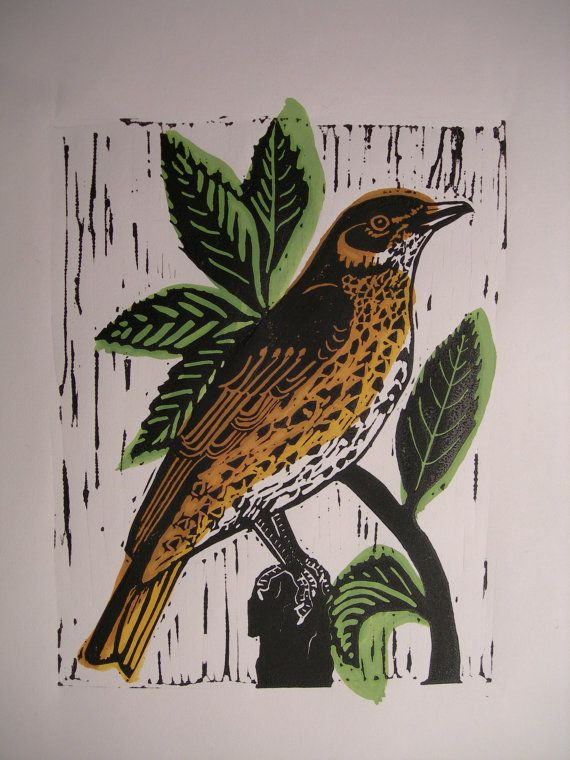Song Thrush hand printed limited edition Lino by ElizabethNewsham