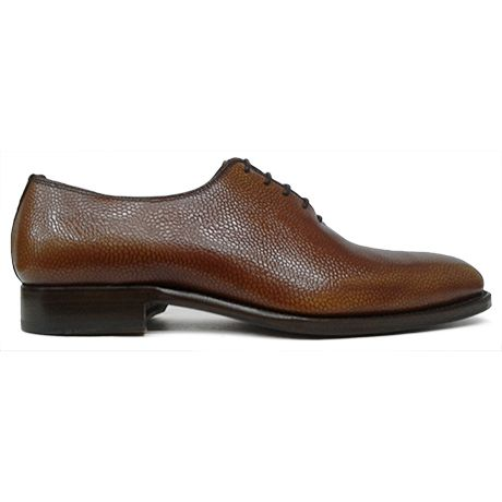 Zapato oxford enterizo wholecut piel grabada color cuero Cordwainer vista lateral