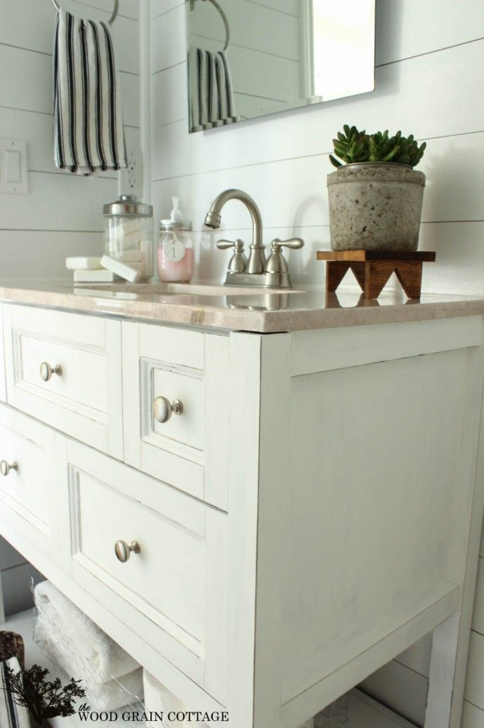 Powder Bathroom Vanity Makeover by The Wood Grain Cottage