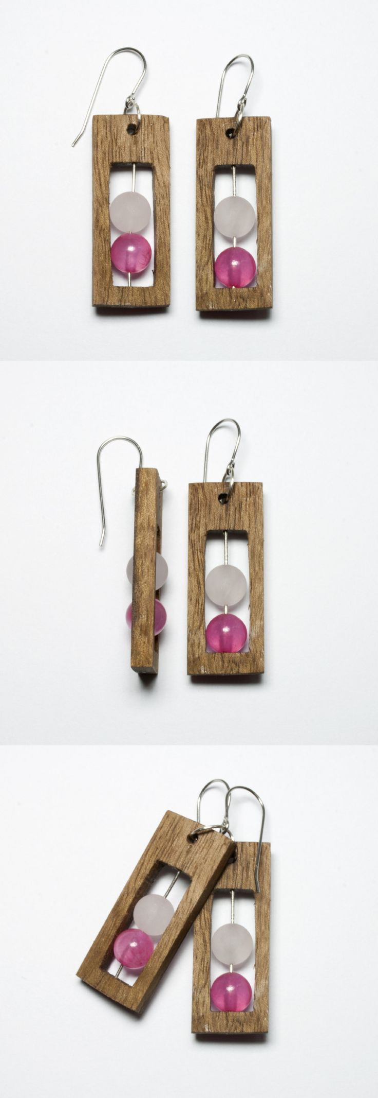 Handmade earrings with wood walnut Italian. In the middle they are mounted matte beads of pink quartz and pink jade on a silver stick. Hooks are made of steel anti-allergic. Length earring - 4cm The width of earring - 1.5cm