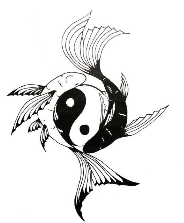 Disegno per tatuaggio segno zodiacale dei pesci yin e yang