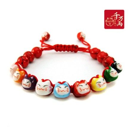 Bracelet Chats Porte Bonheur Maneki Neko (17 perles)