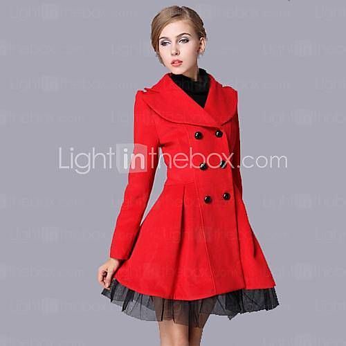 TS Simplicity Fashion Lapel Double Breasted Splicing Mesh Slim CUT Women Wool Coat
