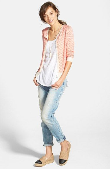 Halogen® Cardigan, LAmade Boyfriend Tank & Mavi Jeans Distressed Slim Jeans available at #Nordstrom