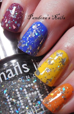 Nails Inc Burlington Arcade over Holland Park Avenue (purple), Baker Street (blue), Carnaby Street (yellow, and think this was 3 coats of this one) and Ibiza Orange (orange of course).