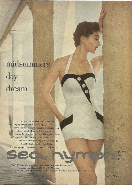 Enjoy a midsummer's daydeam in your gorgeous Sea Nymph bathing suit. June 1954 Charm magazine. I need a swimsuit with pockets!