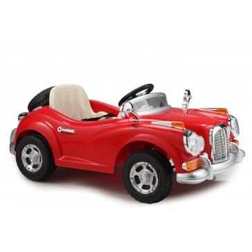 Classic Vintage Red Ride On 12v Electric Car with Parental Remote