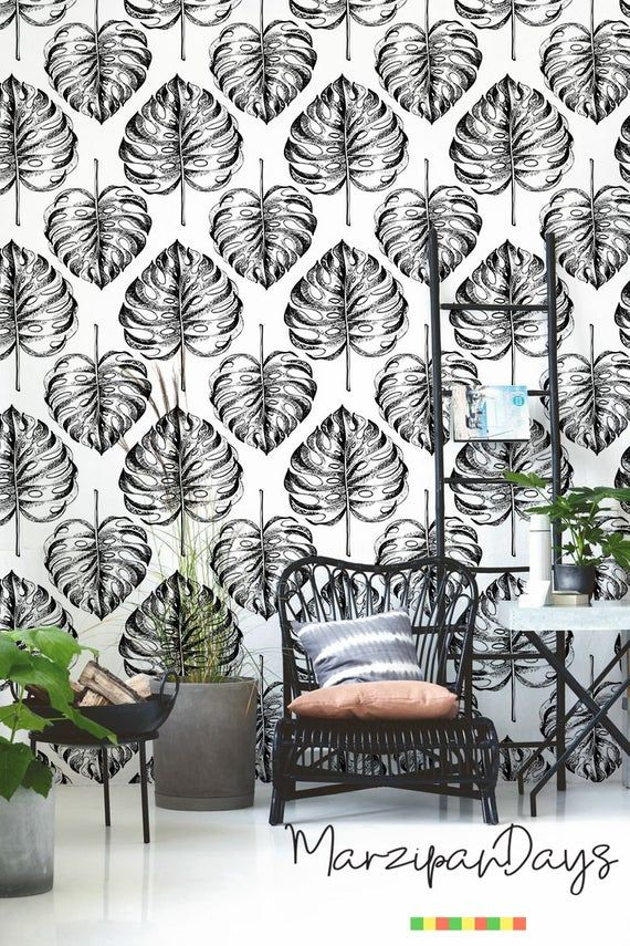 Fiery Flowers Black White Removable Wallpaper Etsy Removable Wallpaper Fantastic Wallpapers Traditional Wallpaper