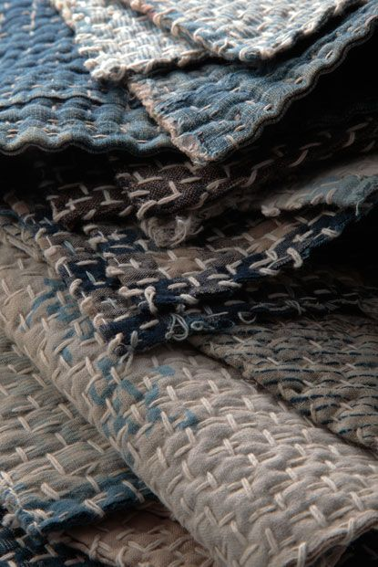 wabi sabi    Quilting with stitches and multiple layers of fabric without any wadding/batting.: