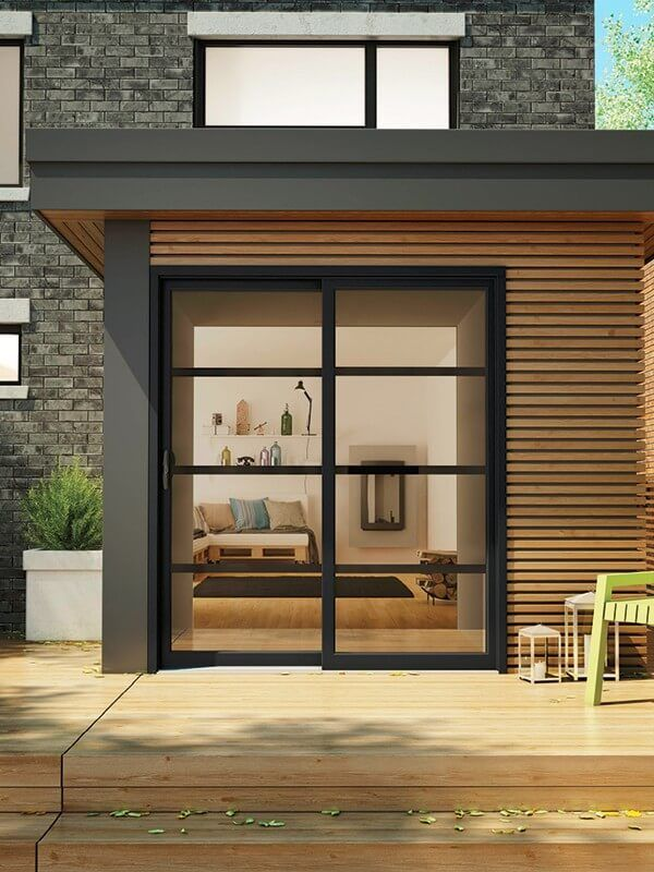 Exterior View Of Modern Black Patio Doors With Low E Glass Patio Doors Doors Sliding Patio Doors