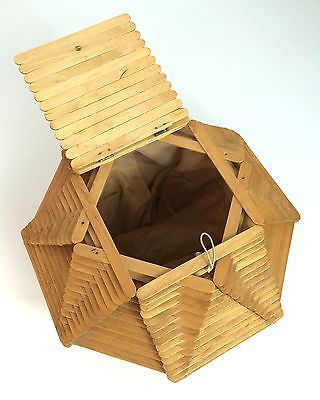 Vintage c.1960 Folk Art Wood Popsicle Stick Sewing Basket Box with Hinged Cover