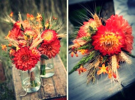 Pretty use of dahlias & wheat for fall bouquets. Dahlias will bloom to the first frost!
