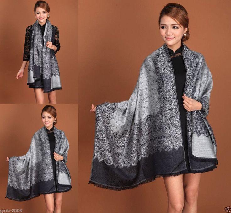 Fashion Women's Black Gray Flower Pashmina Cashmere Long Scarf Wrap Shawl