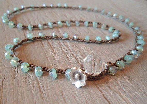 Boho beaded crochet necklace / 3x bracelet / 2x by slashKnots, $48.00